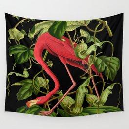 Flamingo Black Wall Tapestry