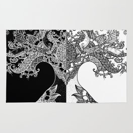 Unity of Halves - Life Tree - Rebirth - Black White Rug