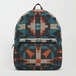 Teal Blue Coral Orange Red Ethnic Mosaic Pattern Backpack