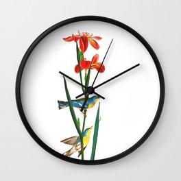 Bird & Red Flowers Wall Clock