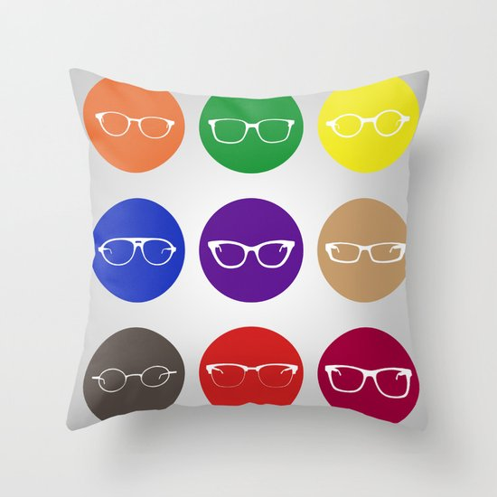 9 Glasses Styles Throw Pillow