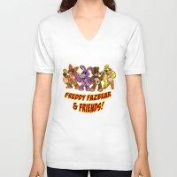 fnaf V-neck T-shirts featuring Freddy Fazbear & Friends by Silvering