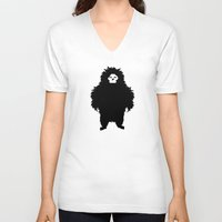 sasquatch V-neck T-shirts featuring Sasquatch by Ryan W. Bradley