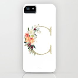 C Monogram, gold foil and watercolor flowers iPhone Case