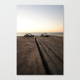 Jetty at sunset Canvas Print