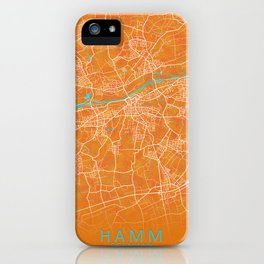 Hamm, Germany, Gold, Blue, City, Map iPhone Case