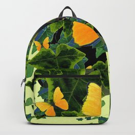 GREEN IVY LEAVES & YELLOW BUTTERFLIES Backpack