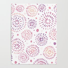 Abstract watercolor sparkles – pastel pink and ultra violet Poster