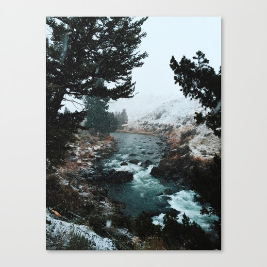Rustic Creek in snow Canvas Print