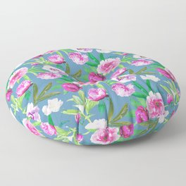 Bright Pink And Pastel Pink Floral Pattern on Teal Floor Pillow