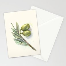Olive Branch | Green Olives | Watercolor Illustration Stationery Cards
