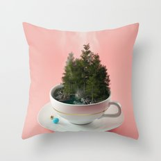Hot cup of tree Throw Pillow