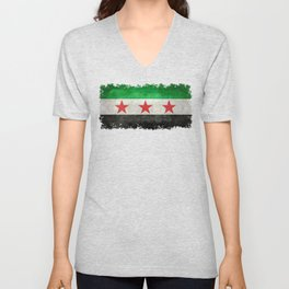 Independence flag of Syria, vintage retro style Unisex V-Neck
