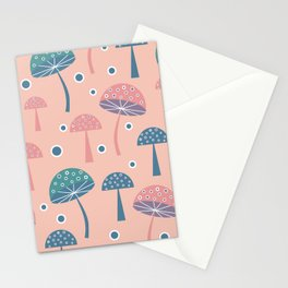 Dancing mushrooms in pink Stationery Cards