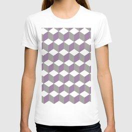 Diamond Repeating Pattern In Crocus Purple and Grey T-shirt