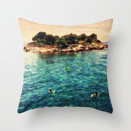 Summer holiday, swimming around a small island Throw Pillow