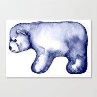 water colour Canvas Prints featuring water colour polar bear by karinka