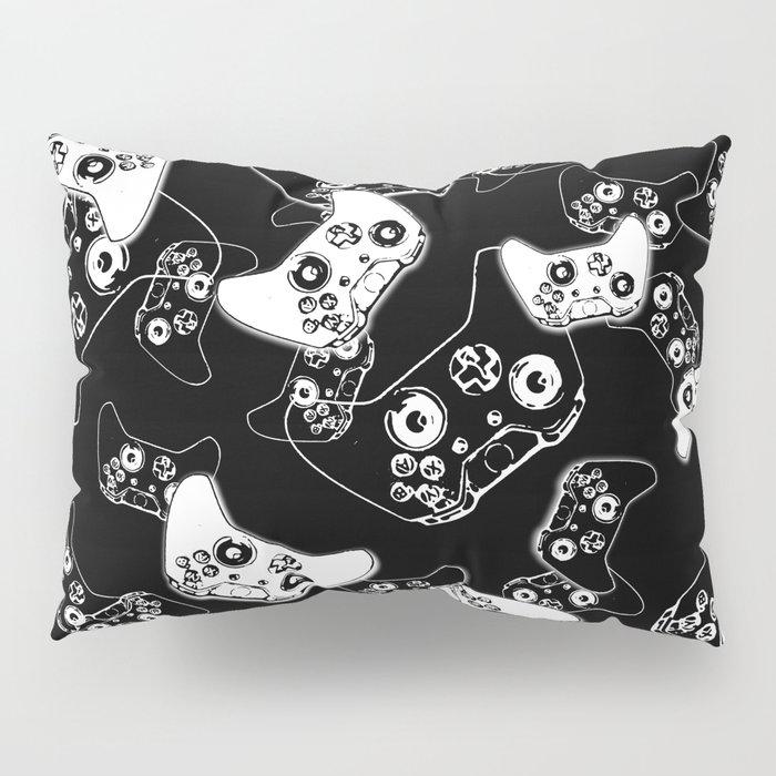 Video Game White on Black Pillow Sham