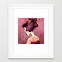 geisha Framed Art Prints featuring Geisha by Christine Alcouffe