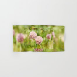 Pink chives flowering plant Hand & Bath Towel