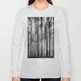 trees in forest landscape - black and white nature photography Long Sleeve T-shirt