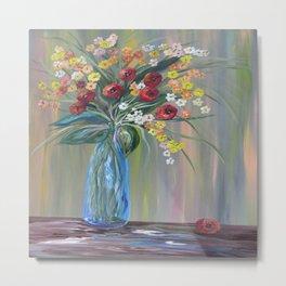 Flowers in a Blue Vase Soft Focus Metal Print