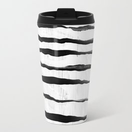 Black Ripples on White Texture Travel Mug