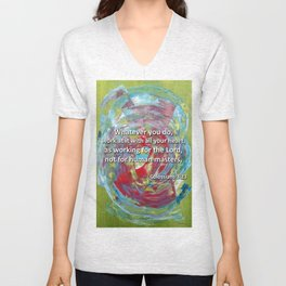 Abstract (Colossians 3:23) - English  Unisex V-Neck