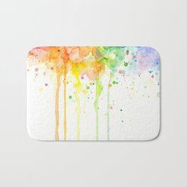 Watercolor Rainbow Splatters Abstract Texture Bath Mat