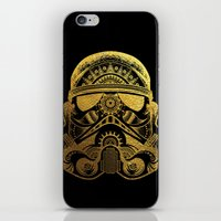 gold foil iPhone & iPod Skins featuring Mandala StormTrooper - Gold Foil by Spectronium - Art by Pat McWain