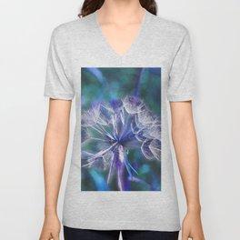 Let's dream  - Dandelion in blue Unisex V-Neck