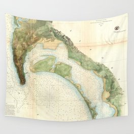 Vintage Map of The San Diego Bay (1857) Wall Tapestry