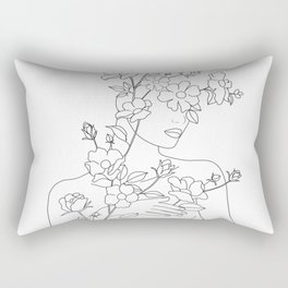 Minimal Line Art Woman with Wild Roses Rectangular Pillow