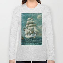 Vintage Large White Sailboat Painting (1895) Long Sleeve T-shirt