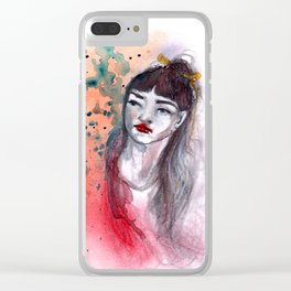 Fille rouge Clear iPhone Case