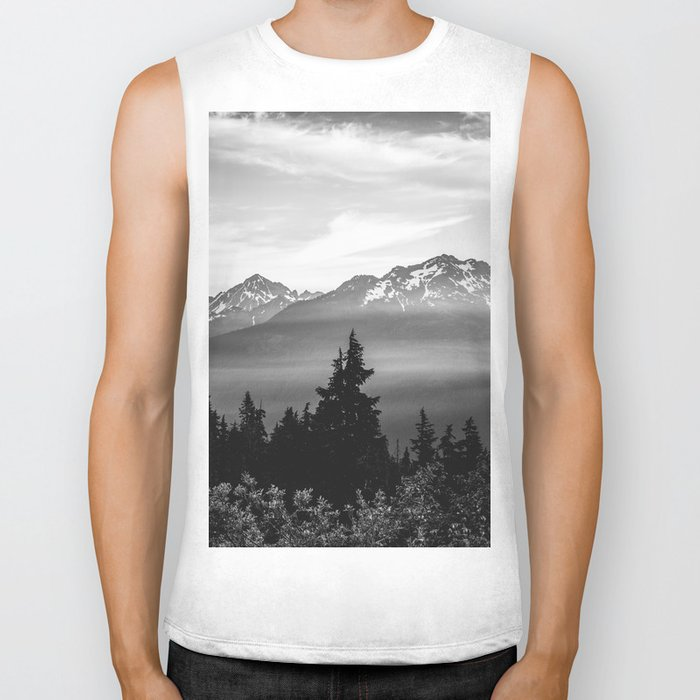 Morning in the Mountains Black and White Biker Tank