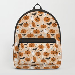 Pumpkin Party on Beige Backpack