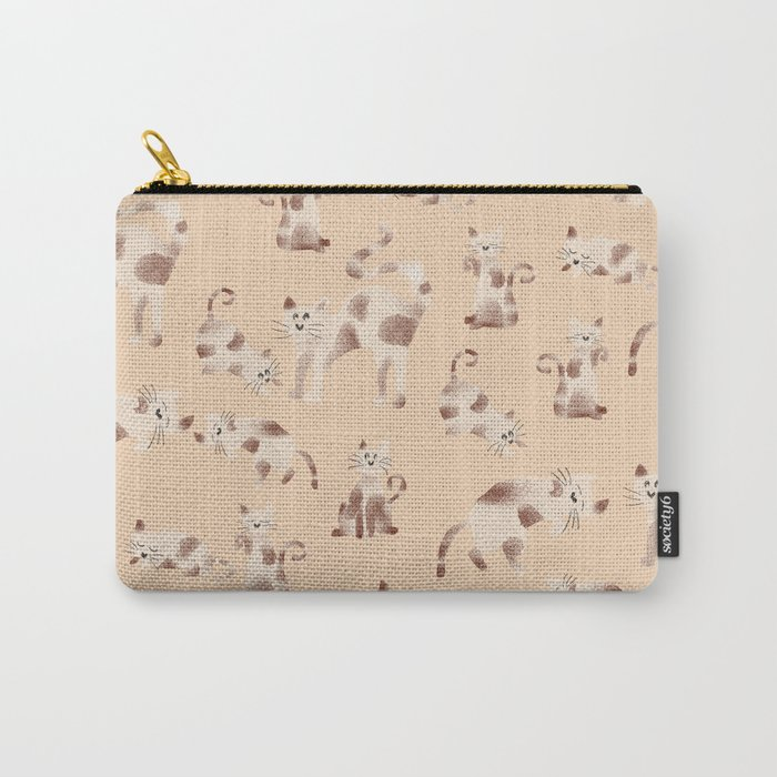 Playful Kitty Pattern Carry-All Pouch