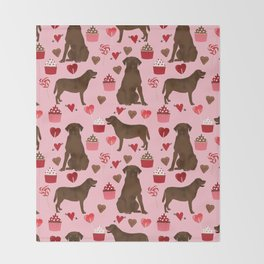 Chocolate Lab valentines day dog breed custom gifts for dog lover with labrador retrievers Throw Blanket