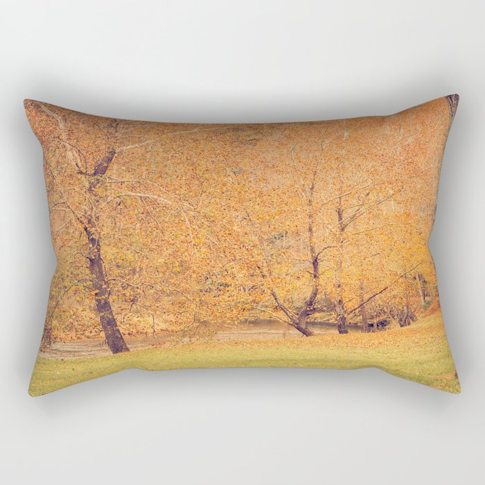 Autumn Landscape -- Trees By The River Rectangular Pillow