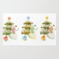 snowman Area & Throw Rugs featuring snowman by green penguin