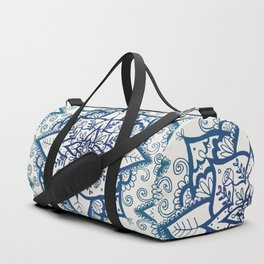 Blue Floral Pattern on Cream Duffle Bag