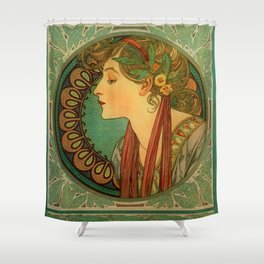 "Alphonse Mucha ""Laurel"" Shower Curtain"