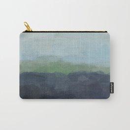 Navy Teal Aqua Sky Blue Green Abstract Wall Art, Painting Art, Nature Horizon, Modern Wall Carry-All Pouch