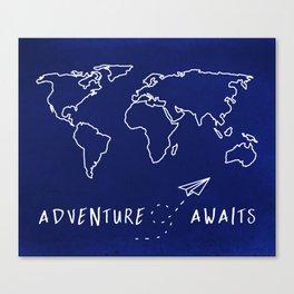 Adventure Map - Navy Blue Canvas Print
