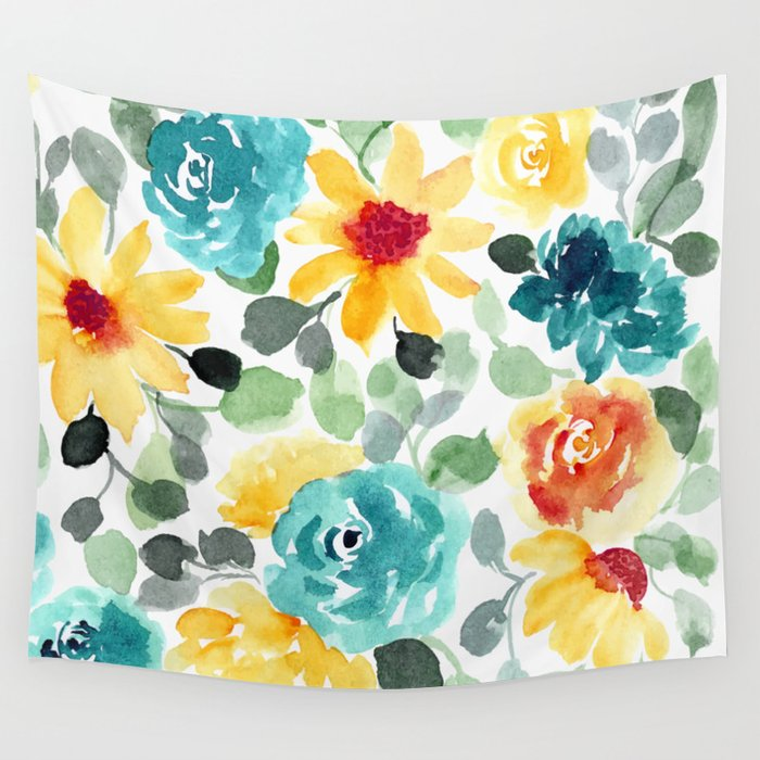 Pretty Summer Floral Watercolor, Yellow, Red, Teal Flowers Wall ...