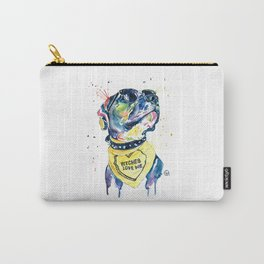 Pitbull, Pit Bull Watercolor Pet Portrait Pinting - Diesel Carry-All Pouch