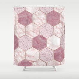 Deep rose marble honeycomb Shower Curtain