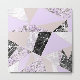 Geometrical black white lavender abstract marble Metal Print