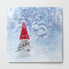 Red Cute Snowman frozen freeze Metal Print